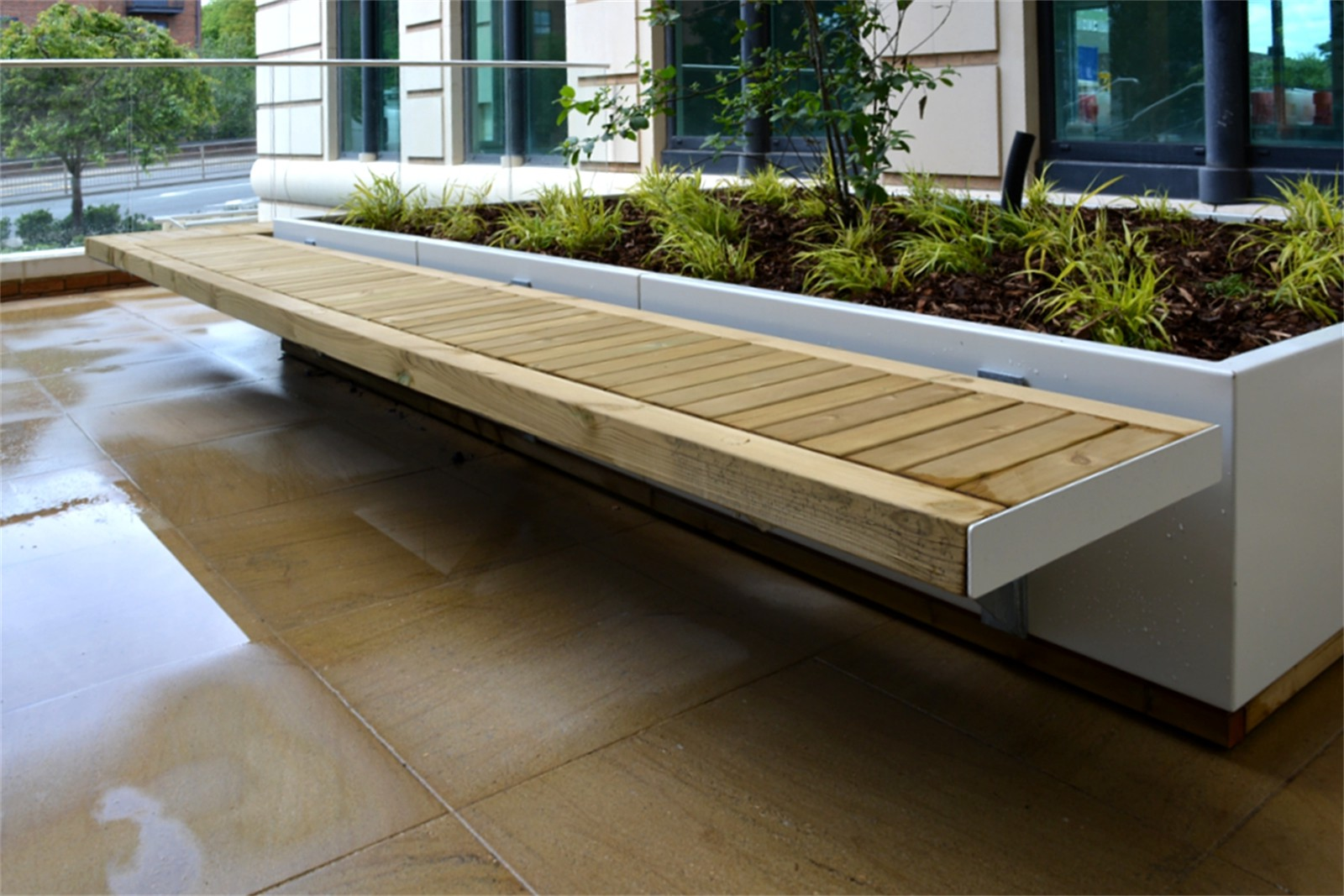 77ssh20 - Sheldon side fixed wall mounted planter bench