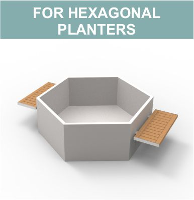 Benches for hexagonal planters by Street Design