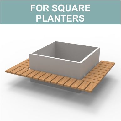 Spalding Benches for square planters by Street Design