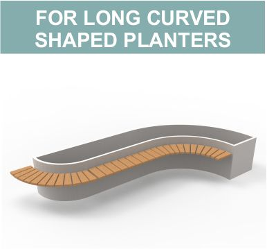 Benches for long, curved planters by Street Design
