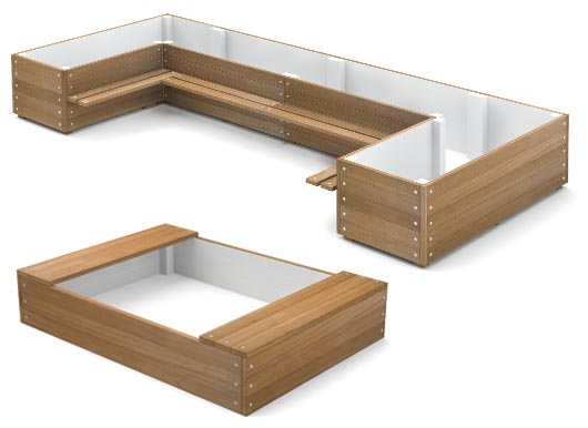 Shaped Planters with Benches from Street Design