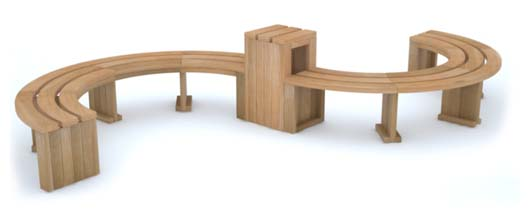 Curved Rochford Bench/Table Combination by Street Design